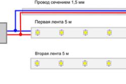 Схема подключения светодиодных лент от одного блока питания