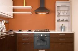 Персиковые стены в кухне