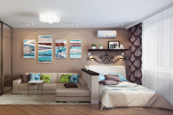 Освещение зоны гостиной и зоны спальни