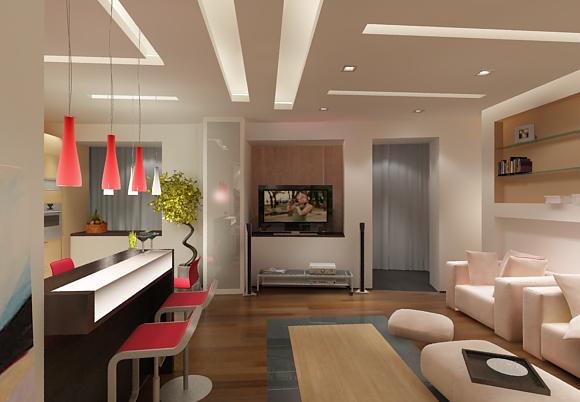 Дизайн кухни, совмещенной с залом