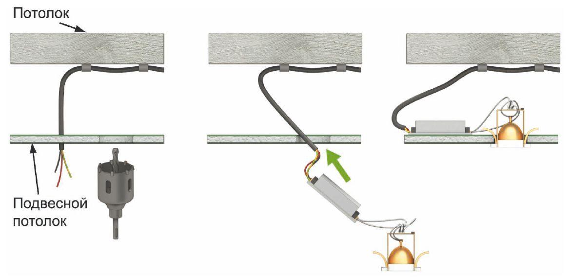Как подключить точечные светильники схема фото 232